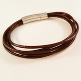 MEN'S MULTI LAYER COW HIDE LEATHER BRACELET WITH STAINLESS STEEL CLASP.