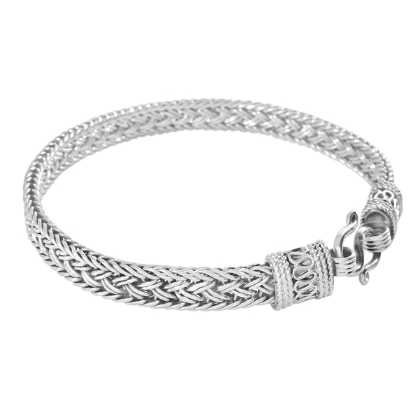 925 HANDMADE STERLING SILVER ROPE LINK CHAIN MEN'S BRACELET 6.70MM.