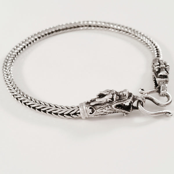 925 HANDMADE DRAGON HEAD STERLING SILVER ROPE LINK CHAIN MEN'S BRACELET 4.50MM.