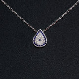 925 STERLING SILVER NECKLACE WITH EVIL EYE PENDANT SET IN SPARKLING CRYSTALS.