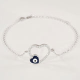 925 STERLING SILVER BRACELET WITH OPEN HEART EVIL EYE CHARM PAVED WITH  SPARKLING CZ CRYSTALS.