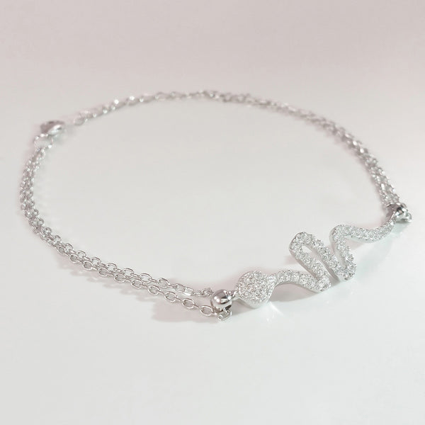 925 STERLING SILVER BRACELET WITH SNAKE CHARM PAVED WITH  SPARKLING CZ CRYSTALS.