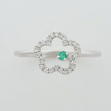 9K SOLID WHITE GOLD 0.05CT NATURAL EMERALD RING WITH 28 DIAMONDS.