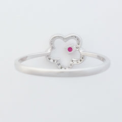 9K SOLID WHITE GOLD 0.05CT NATURAL RUBY RING WITH 28 DIAMONDS.
