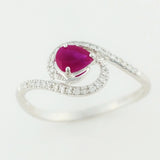 9K SOLID WHITE GOLD 0.40CT NATURAL RUBY RING WITH 34 DIAMONDS.