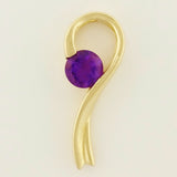 9K SOLID GOLD 0.23CT PURPLE AMETHYST PENDANT.