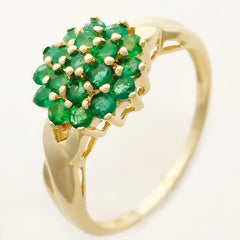 HANDMADE 9K SOLID YELLOW GOLD NATURAL 19 EMERALD CLUSTER RING.