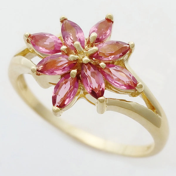 9K SOLID YELLOW GOLD 0.65CT NATURAL PINK TOURMALINE CLUSTER RING.
