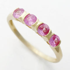 9K SOLID YELLOW GOLD 0.50CT NATURAL PINK SAPPHIRE 4 STONE RING.