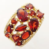 9K SOLID GOLD 2.70CT NATURAL GARNET MULTI STONE FILIGREE MOUNT RING.