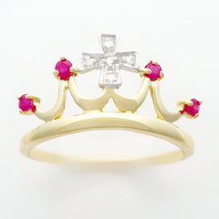 9K SOLID 0.15CT NATURAL RUBY QUEEN CROWN RING WITH 5 DIAMONDS.
