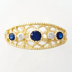 9K SOLID GOLD 0.30CT NATURAL SAPPHIRE NAVETTE STYLE RING WITH 2 DIAMONDS.