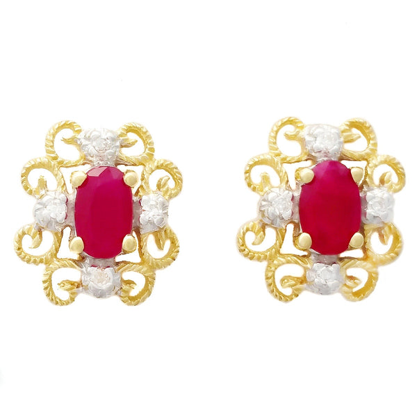 9K SOLID GOLD 0.65CT NATURAL RUBY VINTAGE STYLE EARRINGS WITH 8 DIAMONDS.