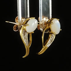 9K SOLID GOLD 0.50CT NATURAL OPAL EARRINGS WITH FOUR DIAMONDS.