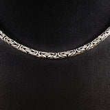 MEN'S 51 CM GENUINE SOLID STERLING SILVER ROPE LINK CHAIN NECKLACE.