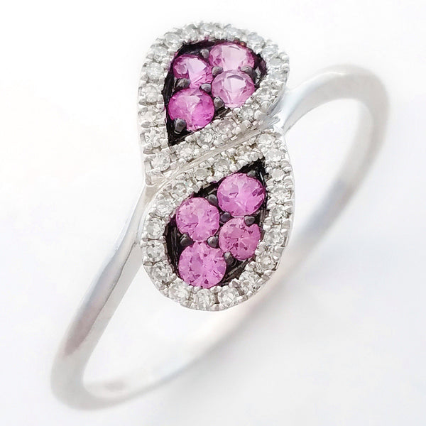 9K SOLID WHITE GOLD NATURAL 8 PINK SAPPHIRE & 38 DIAMOND RING.