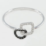 9K SOLID WHITE GOLD NATURAL 13 BLACK DIAMOND & 16 WHITE DIAMOND RING.