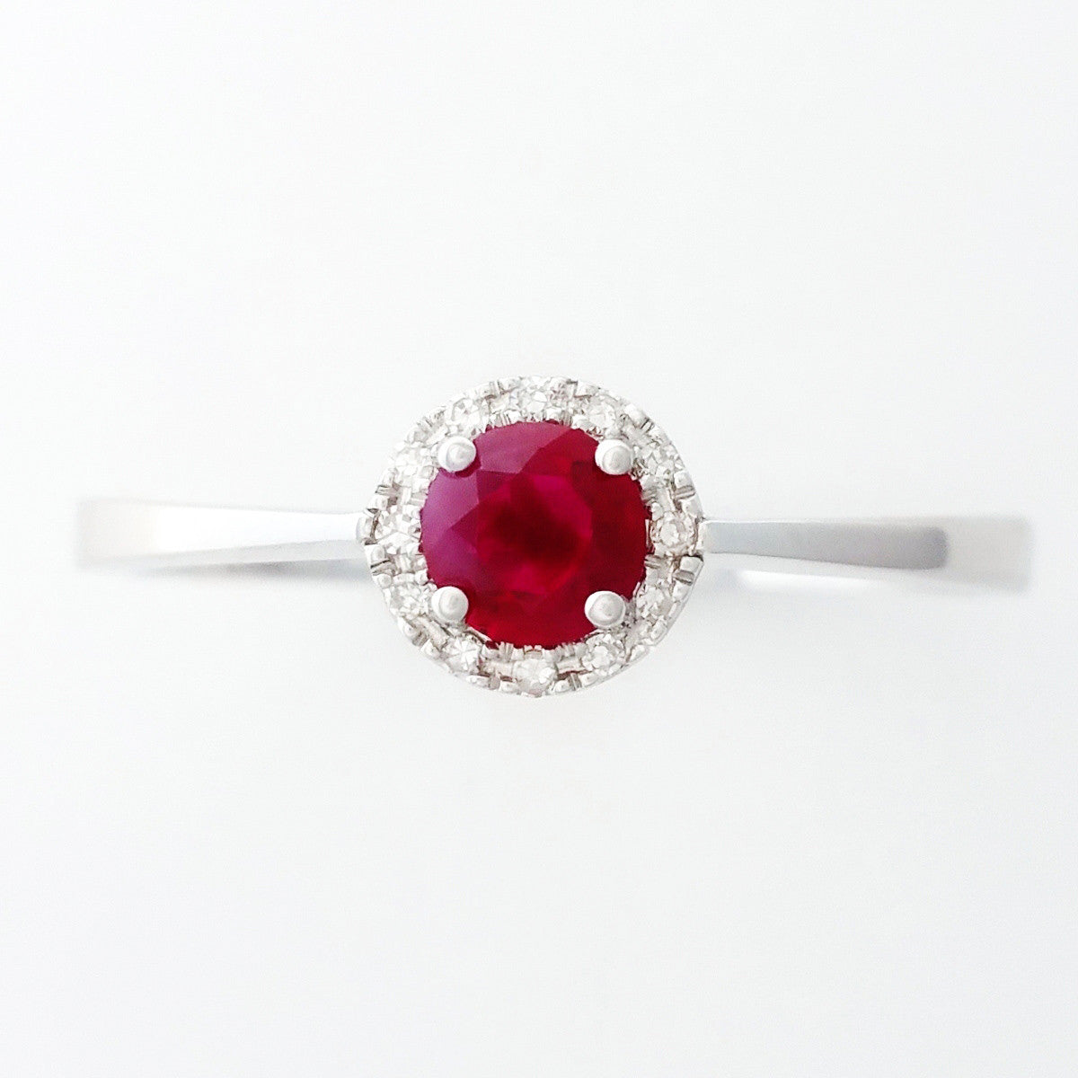 9K SOLID WHITE GOLD 0.30CT NATURAL RUBY HALO RING WITH 12 DIAMONDS.