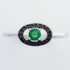 9K SOLID WHITE GOLD 0.15CT NATURAL EMERALD AND 19 BLACK DIAMOND RING.