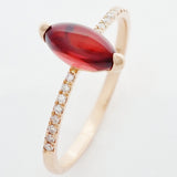9K SOLID ROSE GOLD 1.02CT NATURAL MARQUISE GARNET RING WITH 16 DIAMONDS.