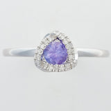 9K SOLID WHITE GOLD 0.30CT NATURAL TANZANITE HALO RING WITH 18 DIAMONDS.