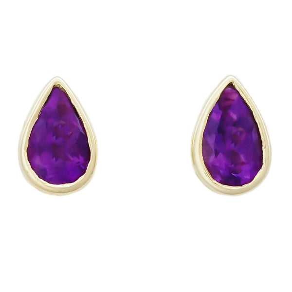9K SOLID GOLD 0.40CT NATURAL PURPLE AMETHYST TEARDROP STUD EARRINGS.