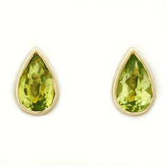 9K SOLID GOLD 0.40CT NATURAL PERIDOT TEARDROP STUD EARRINGS.