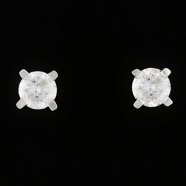 9K SOLID WHITE GOLD 0.20CT NATURAL DIAMOND CLASSIC STUD EARRINGS.