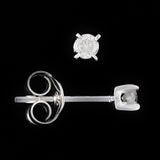9K SOLID WHITE GOLD 0.10CT NATURAL DIAMOND CLASSIC STUD EARRINGS.