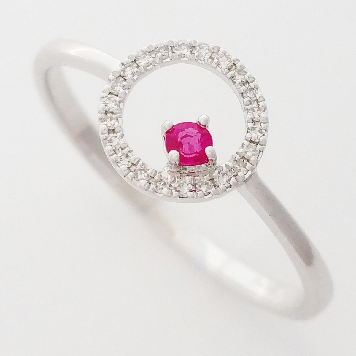 9K SOLID WHITE GOLD PETITE NATURAL RUBY HALO RING WITH 22 DIAMONDS.