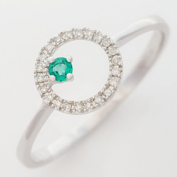 9K SOLID WHITE GOLD PETITE NATURAL EMERALD HALO RING WITH 22 DIAMONDS.