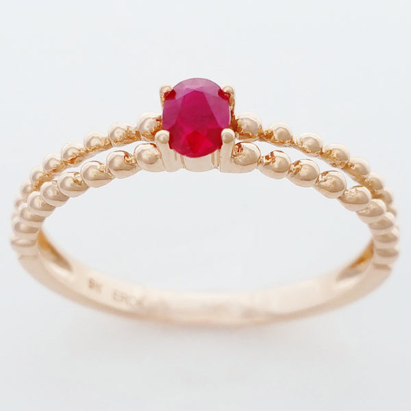 9K SOLID ROSE GOLD 0.25CT NATURAL RUBY RING WITH BEADED SHOULDERS.