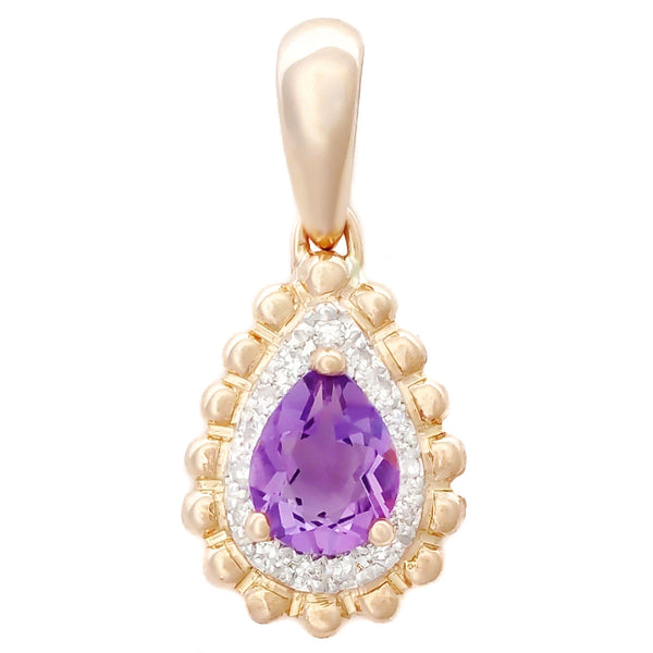 9K SOLID ROSE GOLD 0.30CT NATURAL PURPLE AMETHYST PENDANT WITH 15 DIAMONDS.