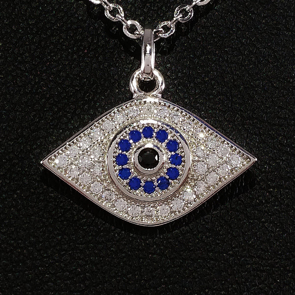 925 STERLING SILVER NECKLACE WITH BOHO SPARKLING CZ CRYSTAL EVIL EYE CHARM.