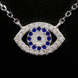 925 STERLING SILVER EVIL EYE CHARM PENDANT SET WITH SPARKLING CZ CRYSTALS.