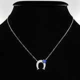 925 STERLING SILVER LUCKY HORSE SHOE EVIL EYE CHARM PENDANT SET WITH SPARKLING CZ CRYSTALS.