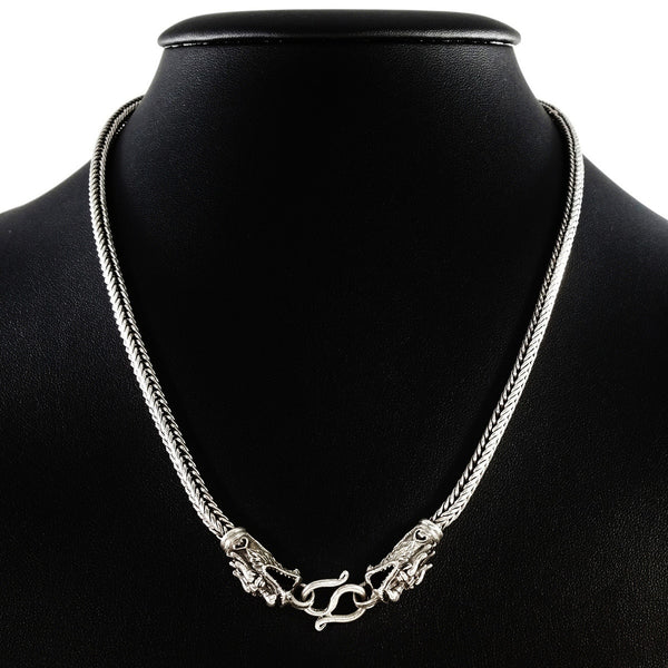 MEN'S 57 CM GENUINE SOLID STERLING SILVER DRAGON CLASP CHAIN NECKLACE.