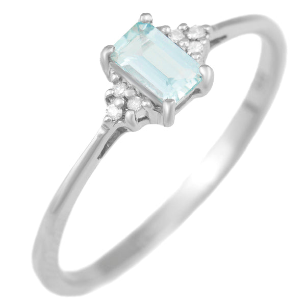 9K SOLID WHITE GOLD 0.30CT NATURAL EMERALD CUT AQUAMARINE + 6 DIAMOND RING.