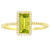 9K SOLID YELLOW GOLD 0.80CT NATURAL EMERALD CUT PERIDOT RING WITH 38 DIAMONDS.