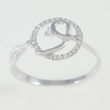 9K SOLID WHITE GOLD NATURAL DIAMOND HALO RING WITH 25 DIAMONDS.