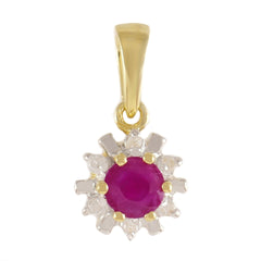HANDMADE 9K SOLID GOLD 0.32CT NATURAL RUBY PENDANT WITH 6 DIAMONDS.
