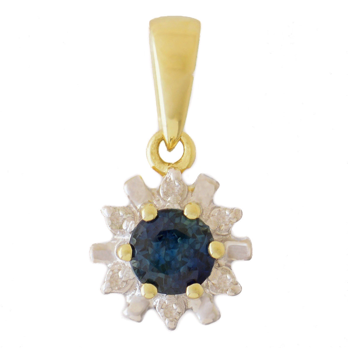 HANDMADE 9K SOLID GOLD 0.30CT NATURAL BLUE SAPPHIRE PENDANT WITH 6 DIAMONDS.