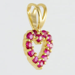 9K SOLID GOLD 0.30CT NATURAL RUBY OPEN HEART PENDANT.