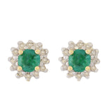 HANDMADE 9K SOLID GOLD 0.30CT NATURAL EMERALD STUD EARRINGS WITH 24 DIAMONDS.