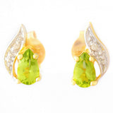 9K SOLID GOLD 0.45CT NATURAL PERIDOT AND DIAMOND STUD EARRINGS.