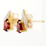 9K SOLID GOLD 0.45CT NATURAL GARNET AND DIAMOND STUD EARRINGS.