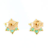 9K SOLID GOLD 0.30CT NATURAL EMERALD AND DIAMOND FLORAL CLUSTER EARRINGS.