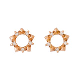 9K SOLID ROSE GOLD STAR SHAPE STUD EARRINGS WITH 10 DIAMONDS.