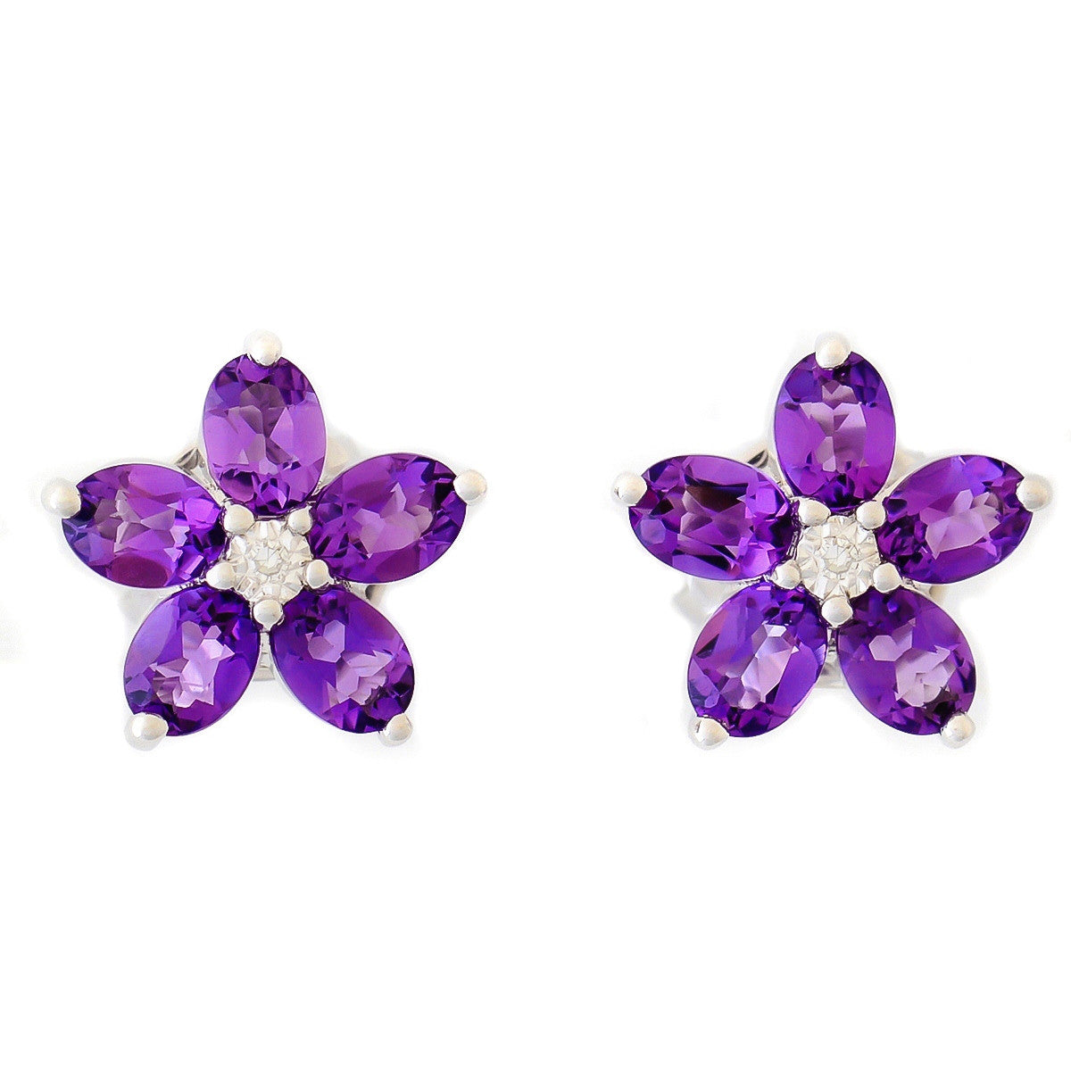 9K SOLID WHITE GOLD 1.30CT AFRICAN AMETHYST EARRINGS WITH CENTRE DIAMONDS.