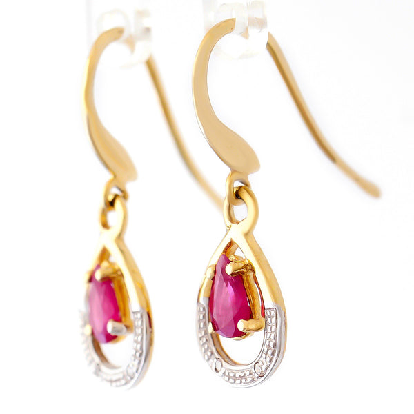 9K SOLID GOLD 0.55CT NATURAL RUBY EARRINGS WITH FOUR DIAMONDS.